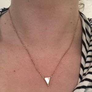 Rose gold necklace with opal triangle